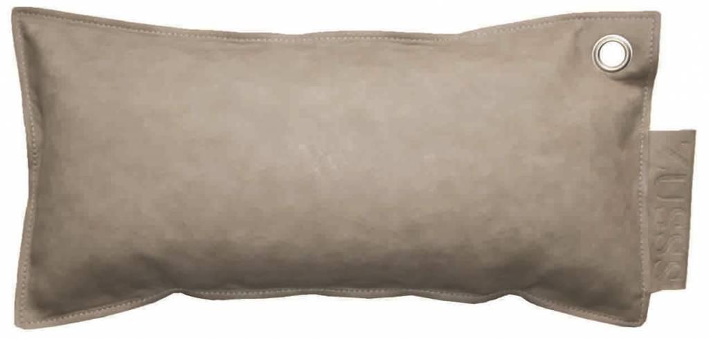 Zusss Sierkussen imitatie leer langwerpig poeder grijs 30x60cm ...